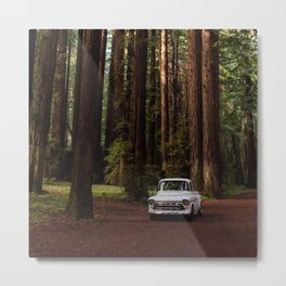 Classic White Truck in the Navarro Redwoods State Park in California, California Photography, Woodland Art, Magical Unique Print Metal Print