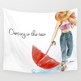 Dancing in the rain Wall Tapestry