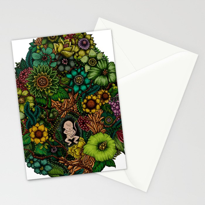 "Floral Uterus ""緑(ROKU)"" Stationery Cards"