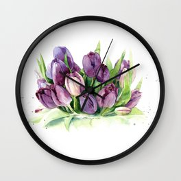 Watercolor bouquet of tulips Wall Clock