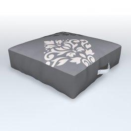 Scroll Damask Art I Cream & Grays Outdoor Floor Cushion