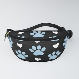 Dog Paws, Traces, Animal Paws, Hearts - Blue Black Fanny Pack