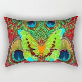 BEAUTIFUL GREEN BUTTERFLY & PEACOCK FEATHERS RED ART Rectangular Pillow