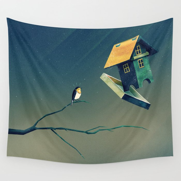 Flying Bird...house Wall Tapestry