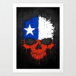 Flag of Chile on a Chaotic Splatter Skull Art Print