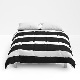 Black & White Paint Stripes by Friztin Comforters