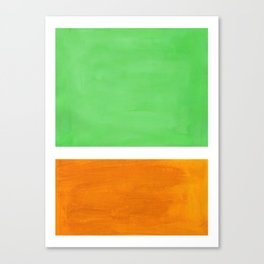 Pastel Mint Green Yellow Ochre Rothko Minimalist Mid Century Abstract Color Field Squares Canvas Print