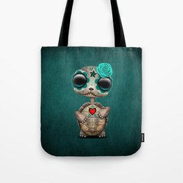Blue Day of the Dead Sugar Skull Baby Turtle Tote Bag