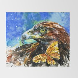 Golden Eagle And Butterfly by Kathy Morton Stanion Throw Blanket