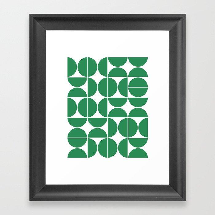 Mid Century Modern Geometric 04 Green Gerahmter Kunstdruck