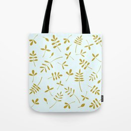 Gold Leaves Design on Light Blue Tote Bag