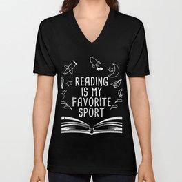 Reading Is My Favorite Sport T-Shirt Bookworm Tee Unisex V-Neck
