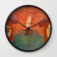 pirates Wall Clocks featuring Pirates  by CataBeja Umaña Azul