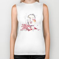 subaru Biker Tanks featuring Japanese Creepy Geisha by viva la revolucion