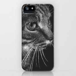 Tabby Cat (Scratchboard Art) iPhone Case