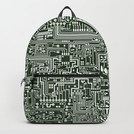 Circuit Board // Green & White Backpack