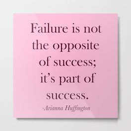 Success Quote - Pink Metal Print