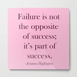 Success Quote - Pink Metal Print