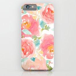 Watercolor Peonies Summer Bouquet iPhone Case