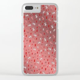pink,silver,dollar, symbol in shiny metall textur Clear iPhone Case