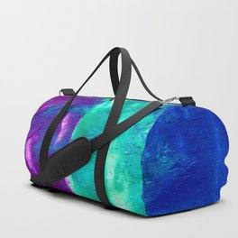 Abstract Fluid Painting with Metallics - Blue, Pale Blue, Magenta and Pink Duffle Bag