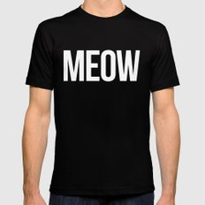Meow Funny Quote Black Mens Fitted Tee LARGE