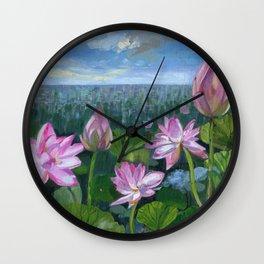 Lotuses Wall Clock