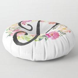 Floral P Monogram Floor Pillow