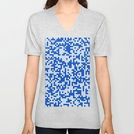 Blue Sapphire Abstract Cracked Grid Pattern Unisex V-Neck
