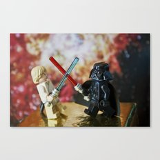 Darth Vader and Luke Skywalker lego characters fighting with their lightsabers Canvas Print