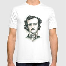 Edgar Allan Poe and Ravens Mens Fitted Tee White MEDIUM