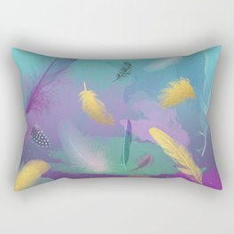 Dancing Feathers - Turquoise and purple shades with gold details Rectangular Pillow