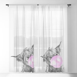 Bubble Gum Highland Cow Black and White Sheer Curtain