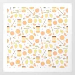 Lemon Honey Citrus Pattern Art Print