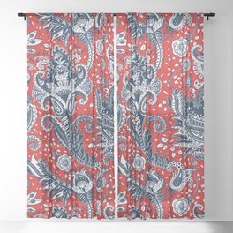Red White & Blue Floral Paisley Sheer Curtain