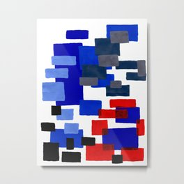 Modern Mid Century Abstract Geometric Cube Square Acrylic Painting Blue With Red Accents Metal Print