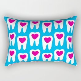 Teeth pattern with hearts in the center on blue background Rectangular Pillow