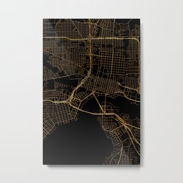 Black and gold Jacksonville map Metal Print