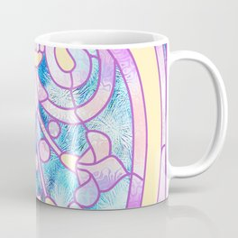 Art Nouveau Blue Pink and Yellow Batik Design Coffee Mug