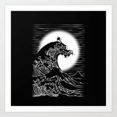 Waterbending (Black) Art Print