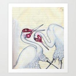 Scissor Cranes with Bloomers Art Print