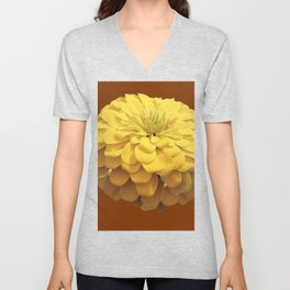 YELLOW ZINNIA FLOWER ON CHOCOLATE BROWN COLOR Unisex V-Neck