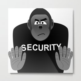 Monkey Security guard stopping the crowd Metal Print