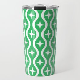 Mid century Modern Bulbous Star Pattern Green Travel Mug