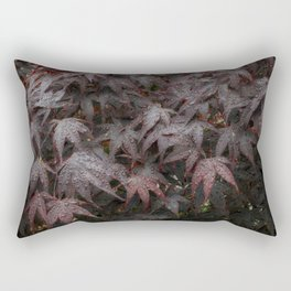 Water droplets on Acer leaves Rectangular Pillow