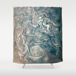 Jupiter Stormy Weather Watercolor Texture Shower Curtain