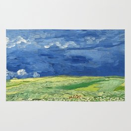 Wheatfield under thunderclouds by Vincent van Gogh Rug