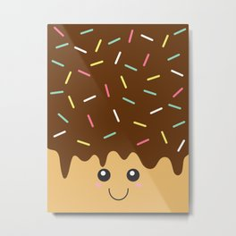 Happy Donut with Chocolate icing and Sprinkles Metal Print