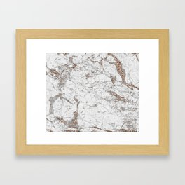 White frost - rose gold marble Framed Art Print