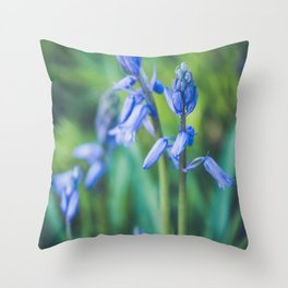 Beautifull Squill flowers. Closeup of a blue scilla in bloom. Throw Pillow